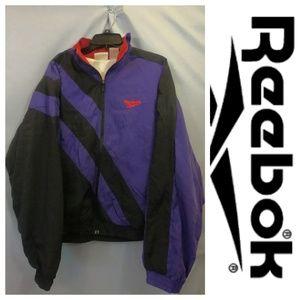 Vtg. Reebok Windbreaker Jacket Spell Out Purple L